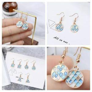 Round geometric beach blue mosaic drop earrings